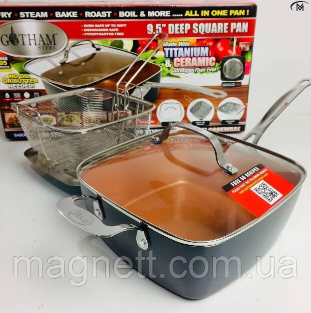 Глубокая квадратная сковорода TOP KITCHEN BN-8001 (сковорода,фритюрница,пароварка)
