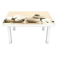 Наклейка на стол Пирамида Камни (виниловая пленка ПВХ для мебели) круглые цветы Бежевый 600*1200 мм