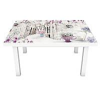 Наклейка на стол Весенний Прованс (виниловая пленка ПВХ для мебели) улицы сирень Фиолетовый 600*1200 мм