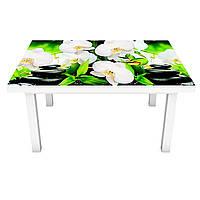 Наклейка на стол Белые орхидеи (виниловая пленка ПВХ для мебели) свечи черные камни Зеленый 600*1200 мм, фото 1