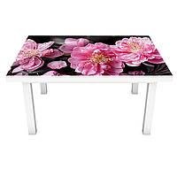 Наклейка на стол Китайская Роза (виниловая пленка ПВХ для мебели) розовые цветы Орнамент 600*1200 мм