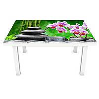 Наклейка на стол Тайский Релакс (виниловая пленка ПВХ для мебели) орхидеи камни свечи Зеленый 600*1200 мм, фото 1
