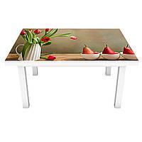 Наклейка на стол Груши и Тюльпаны (виниловая пленка ПВХ для мебели) Натюрморт вазы Бежевый 600*1200 мм, фото 1