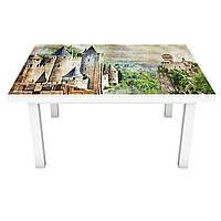 Наклейка на стол Замок у реки (виниловая пленка ПВХ для мебели) под старину винтаж Зеленый 600*1200 мм, фото 1