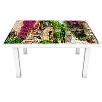 Наклейка на стол Зеленые улицы Прованса (виниловая пленка ПВХ для мебели) Архитектура Бежевый 600*1200 мм, фото 1