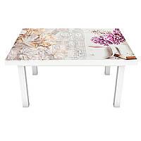 Наклейка на стол Сирень и Вино (виниловая пленка ПВХ для мебели) Абстракция цветы Бежевый 600*1200 мм, фото 1
