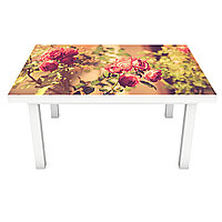 Наклейка на стол Фото Розы (виниловая пленка ПВХ для мебели) сепия кусты цветы Бежевый 600*1200 мм, фото 1