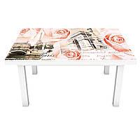 Наклейка на стол Коллаж Цветы и Город (виниловая пленка ПВХ для мебели) Розовые розы Архитектура 600*1200 мм, фото 1