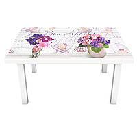 Наклейка на стол Фиалковый Прованс (виниловая пленка ПВХ для мебели) фиалки доски Фиолетовый 600*1200 мм, фото 1