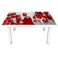 Наклейка на стол Вишневое варенье (виниловая пленка ПВХ для мебели) красные ягоды Еда 600*1200 мм, фото 1