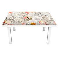 Наклейка на стол Цветы и Акварель (виниловая пленка ПВХ для мебели) дома букеты Серый 600*1200 мм