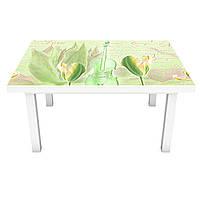 Наклейка на стіл Зелені Тюльпани (вінілова плівка ПВХ для меблів) квіти скрипка написи 600*1200мм, фото 1