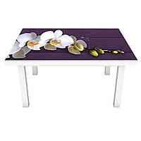 Наклейка на стол Орхидеи Крупные (виниловая пленка ПВХ для мебели) цветы Фиолетовый 600*1200 мм