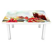 Наклейка на стол Блинчики с Клубникой (виниловая пленка ПВХ для мебели) еда варенье ягоды Красный 600*1200 мм, фото 1