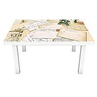 Наклейка на стол Карта мира (виниловая пленка ПВХ для мебели) винтаж лаванда Бежевый 600*1200 мм, фото 1