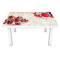 Наклейка на стол Красные ягоды 02 (виниловая пленка ПВХ для мебели) надписи Бежевый 600*1200 мм, фото 1