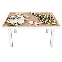 Наклейка на стол Полевые цветы белые (виниловая пленка ПВХ для мебели) на деревянном фоне Бежевый 600*1200 мм, фото 1