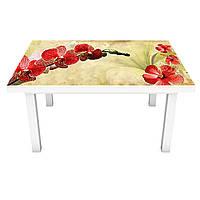 Наклейка на стол Ветки Красных Орхидей (виниловая пленка ПВХ для мебели) цветы Бежевый 600*1200 мм, фото 1
