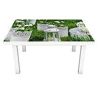 Наклейка на стол Королевский сад (виниловая пленка ПВХ для мебели) цветы трава Зеленый 600*1200 мм