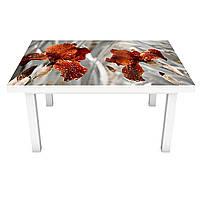 Наклейка на стол Крупные Ирисы (виниловая пленка ПВХ для мебели) цветы Серый 600*1200 мм, фото 1