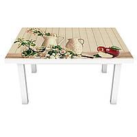 Наклейка на стол Яблоки и Цветы вишни (ПВХ интерьерная пленка для мебели) доски 3Д Бежевый 600*1200 мм, фото 1