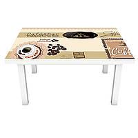 Наклейка на стол Кофейный Бар (ПВХ интерьерная пленка для мебели) кофе чашки Бежевый 600*1200 мм