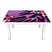 Наклейка на стіл Фіолетовий Шовк (ПВХ інтер'єрна плівка для меблів) орхідеї під тканину квіти 600*1200мм, фото 1