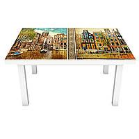 Наклейка на стол Старинный Амстердам (ПВХ интерьерная пленка для мебели) дома город Коричневый 600*1200 мм