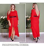 Эффектное длинное платье на молнии и длинным рукавом, ботал, 3цвета  Р-р.50-52,54-56,58-60  Код 6610Е, фото 3