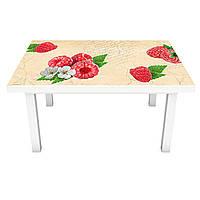 Наклейка на стіл Малина (ПВХ інтер'єрна плівка для меблів) червоні ягоди Їжа Бежевий 600*1200мм, фото 1