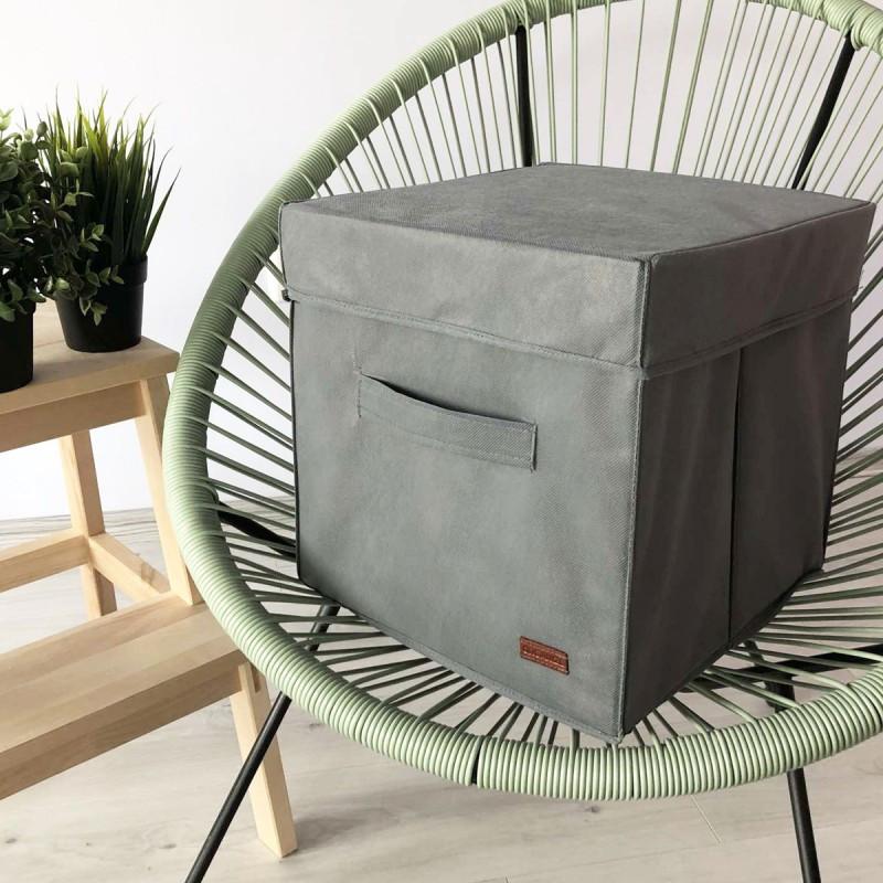 Ящик с крышкой 30*30*30 см ORGANIZE (серый)