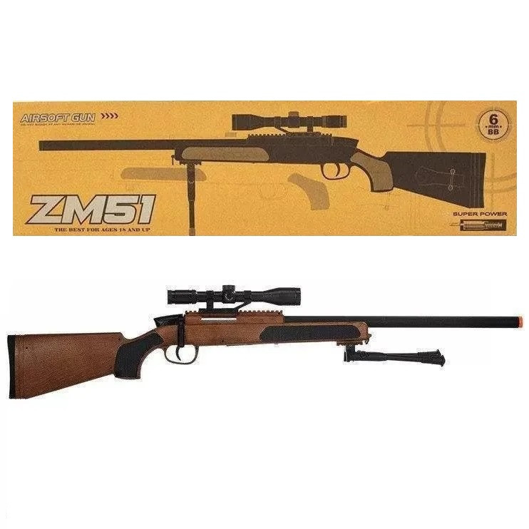 Снайперская игрушечная винтовка CYMA ZM51W с лазерным и оптическим прицелом