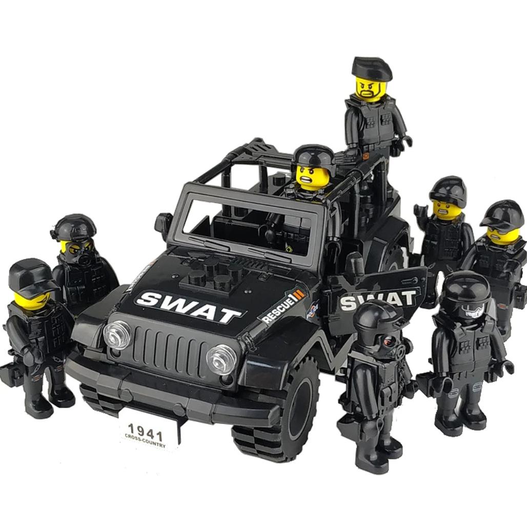 Набор фигурок Спецназ на Джипе SWAT Отряд Быстрого Реагирования джип+8 фигурок. Крутые полицейские.