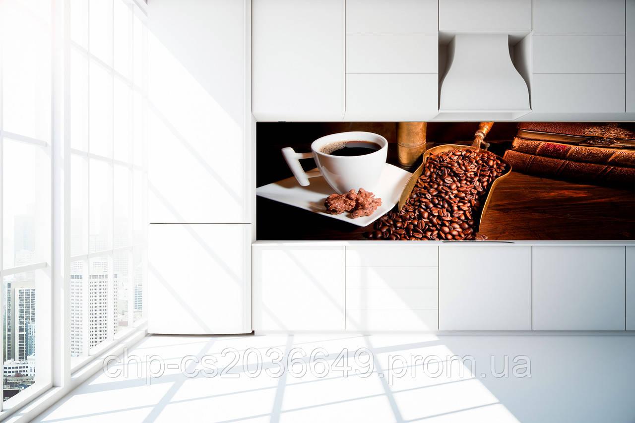 Стеклянный фартук для кухни - скинали Кофе