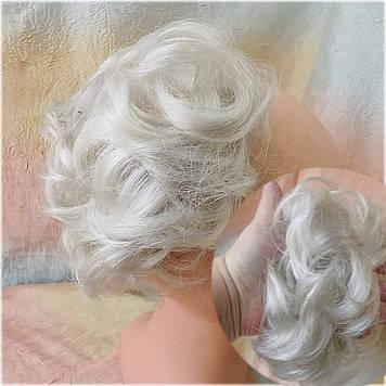 Резинка шиньон из волос серебристый блонд 0215V-60А