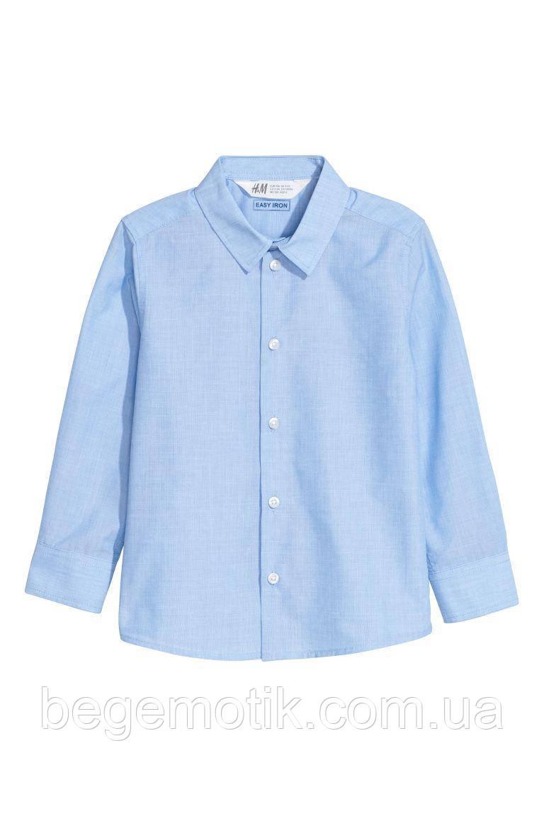 H&M Хлопковая Рубашка для мальчика голубая Easy iron (легкая глажка) 8-9 лет рост 128-134