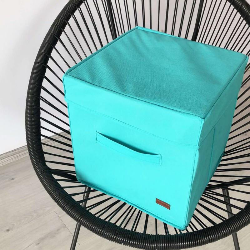 Ящик с крышкой 30*30*30 см ORGANIZE (лазурь)