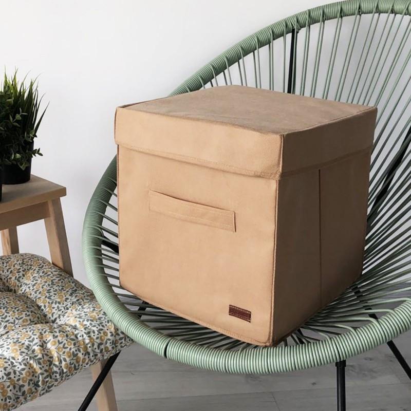 Короб для хранения с крышкой 30*30*30 см ORGANIZE (бежевый)