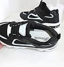 Женские кроссовки на высокой подошве черно-белого цвета JIN LI MEI, фото 9