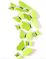 Бабочки 3D салатовые с прожилками 3Д декор наклейки магнит
