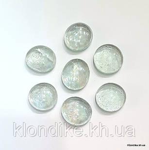 Камушки Декоративные, Круглые, Стеклянные, 18~20 мм, Цвет: Бледно-серый (80 шт.)