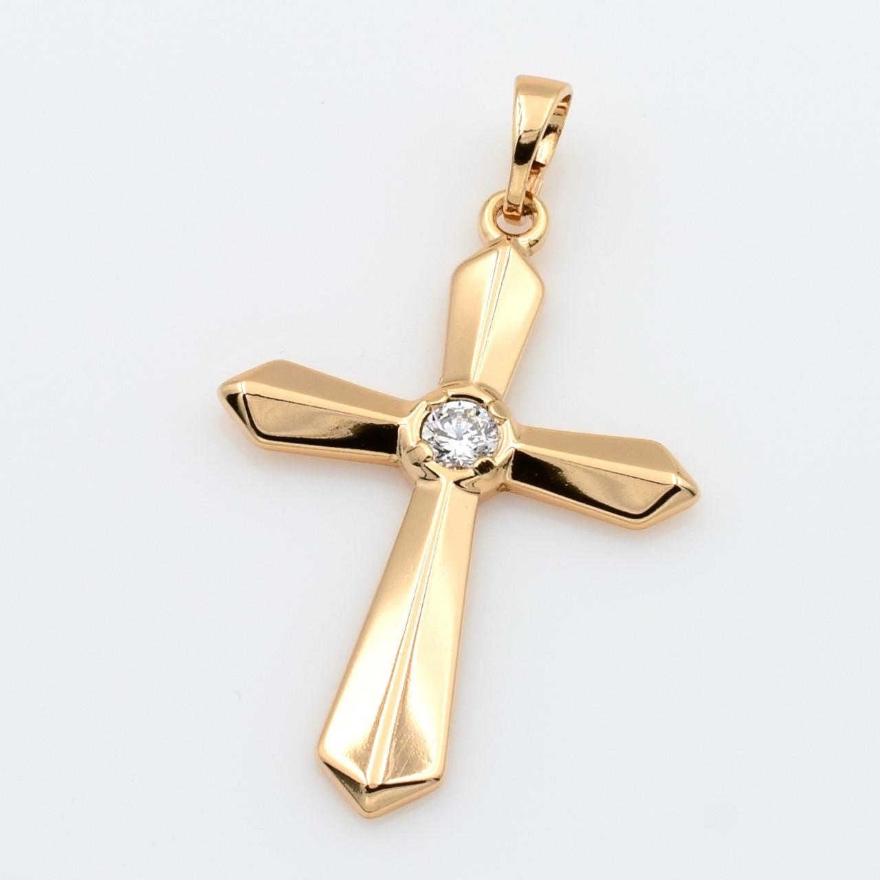 XUPING Кулон Крест Позолота 18к с белыми цирконами Высота 3.9см, Ширина 2.3см