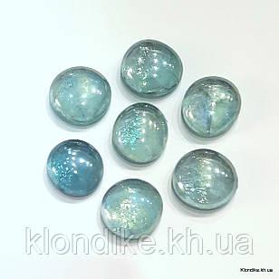 Камушки Декоративные, Круглые, Стеклянные, 18~20 мм, Цвет: Морская волна (80 шт.)