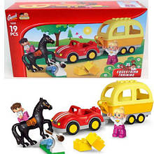 Конструктор для самих маленьких дітей Gorock з конячкою, машинкою і фігурками арт.1039