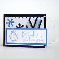 Мини-открытка ручной работы. Brrr... It's cold outside!
