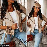 Женская модная замшевая куртка косуха С, М +большой размер, фото 1