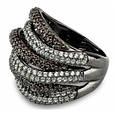 Стильное серебряное кольцо Дюны: коньячный фианиты и темный родий, фото 8