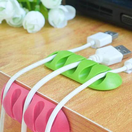 Держатель на стол для кабелей и наушников на липучке Розовый, фото 2