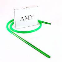 Силиконовый шланг с алюминиевым мундштуком AMY Long зелёный