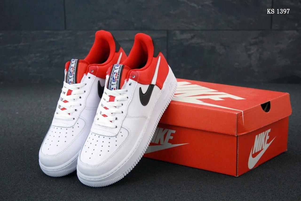 Мужские кроссовки Nike Air Force 1 Low NBA (красно/белые) KS 1397